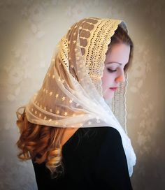 Evintage Veils Stella Maris Ivory Embroidered Traditional
