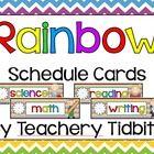 Rainbow Themed Schedule Cards - Natalie Lemacks