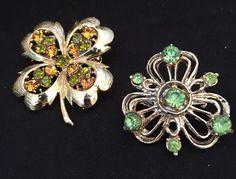 Vintage Shamrock & Four Leaf Clover Green Amber Rhinestone Brooches Unsigned  #Unbranded