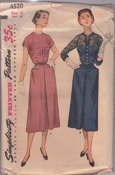 MOMSPatterns Vintage Sewing Patterns - Simplicity 4520 Vintage 50's Sewing Pattern RISQUE Lucy New Look SHEER LACE or Horizontal Pin Tucks Bodice Party Dress, Inverted Front Skirt Pleat 2 Styles Size 18