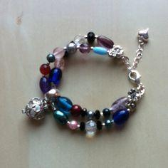 Dubbele kralen armband met parfumkraal multicolor