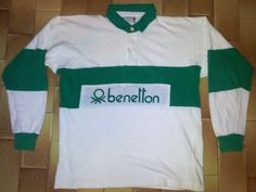 42af37048ff Vintage 80's Benetton United Colours Rugby Jersey Green Logo Hip Hop Shirt  | eBay Green Logo