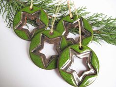 Christmas Stars Round Ceramic Green And Silver by mychristmastree $34
