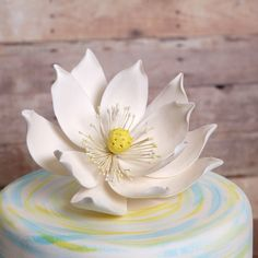Large Lotus Flower (Water Lily) from gumpaste cake topper perfect for cake decorating fondant cakes. | CaljavaOnline.com
