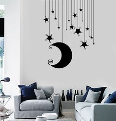 Wall Vinyl Decal Nusery Room Moon Stars Baby Kids Mural Unique Gift 11 in X in / Dark Blue Simple Wall Paintings, Creative Wall Painting, Wall Painting Decor, Bedroom Wall Designs, Bedroom Decor, Bedroom Ideas, Decoration Table, Beautiful Wall, Vinyl Wall Decals