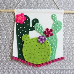 Cactus Wall Hanging - Cactus Pennant - Ready to ship