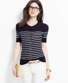 Ann-Taylor-XL-Navy-Blue-Rope-Stripe-Short-Sleeve-Ann-Cardigan-Sweater-80-69