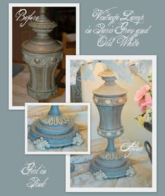 Beautiful lamp base painted with Chalk Paint decorative paint