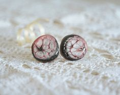 Hand painted wooden cuff links pink black cuff by MyPieceOfWood