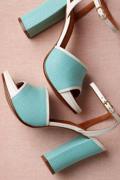 Wedding Shoes: Vintage block baby blue heels