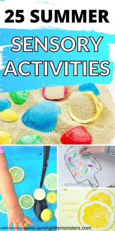 Have fun with this list of 25 Summer sensory activities for kids. Fun and easy sensory activities to do with toddlers and preschoolers this Summer. Explore, learn and play with these fantastic play ideas. #summer #sensory #toddlers #preschoolers Activities To Do With Toddlers, Summer Activities For Kids, Holiday Activities, Infant Activities, Kids Fun, Craft Activities, Sensory Table, Sensory Bins, Sensory Play