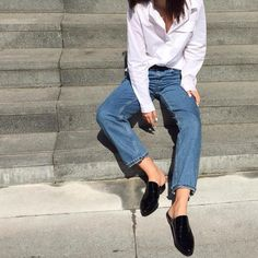 Loafer lovers rejoice! Autumn's styles are enjoying a backless makeover for ultimate lounging. Wear with straight leg jeans and a white shirt at the weekend, like India Rose