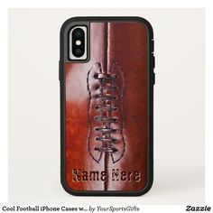 Cool Personalized Football iPhone Cases with his NAME Click HERE: https://www.zazzle.com/z/ov316?rf=238012603407381242 Custom printed personalized football iPhone cases from the very Newest football iPhone cases to Older iPhone football cases. You can also change this Football iPhone X case. Tough Extreme Football Phone case. CALL Rod or Zazzle Designer Linda for help or changes: 239-949-9090 MORE football gifts for players HERE…