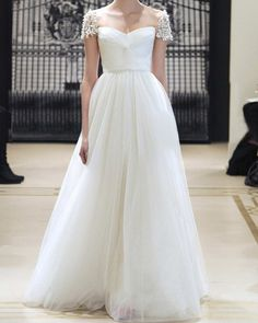 Custom White Off Shoulder Lace Tulle Wedding dress by Susiewear, $285.00