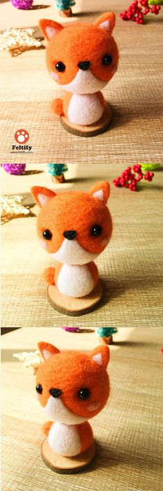 Handmade Needle felted felting kit project Animals fox cute for beginners starters