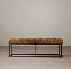 tufted leather bench w/ metal box frame // restoration hardware