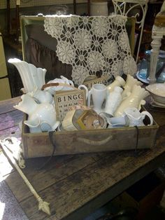 """❥ so many beauties~ via Midwest Memories Antiques******** adorable but not very """"shopable""""...people hesitate to pick up if they think they might break something."""
