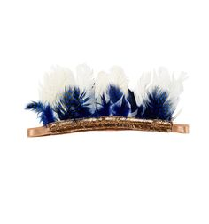 Our girls feather headband in 'Royal' features plumes of blue, black and white feathers standing to attention from a rose gold, elasticated band. A truly spectacular girls hair accessory which is sure to inspire all sorts of imaginative play. www.tutudumonde.com