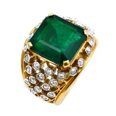 6.20 Carat Cartier Colombian Emerald No Oil Ring | 1stdibs.com