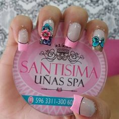 uñas  con flor y lazo Nail Polish Designs, Nail Art Designs, Nails For Kids, French Tip Nails, Beautiful Nail Designs, Artificial Nails, Fabulous Nails, Manicure And Pedicure, Toe Nails