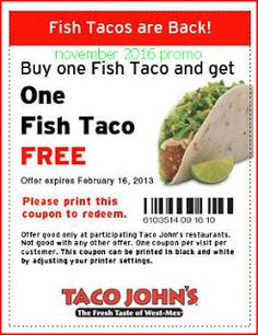 224 best free printable coupons images on pinterest coupon codes taco johns coupons fandeluxe Image collections