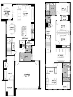 Refine the search and discover the best house designs & floor plans for your dream home. Double Storey House Plans, Narrow Lot House Plans, Family House Plans, Modern House Plans, House Floor Plans, Bungalow Haus Design, Duplex Design, Townhouse Designs, Narrow House Designs