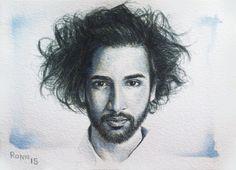 'Gustavo Costa'. ink portrait - 13cm x 18cm - paper