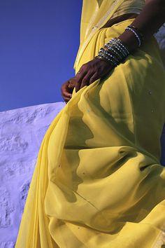 Yellow sari in Jodhpur, India. Saris, Rajasthan India, India India, Indian Colours, Visit India, Blue City, Jodhpur, World Of Color, Mellow Yellow
