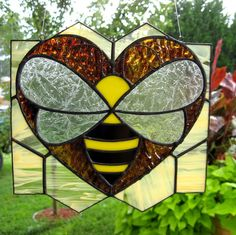 Love Bee Stained Glass SunCatcher by Handcraftcottage on Etsy