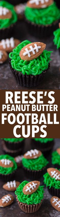 These reese's peanut butter football cups are the easiest game treat! You need peanut butter cups, green frosting and football almonds!: