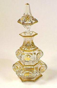 Baccarat Gilt Cut Crystal Napoleon III Cologne Bottle