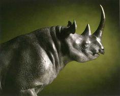 Bronze Endangered Animal Species sculpture by artist NICK BIBBY titled: 'Black Rhino (bronze statue trotting)' #sculpture #art