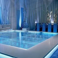 Dance Floor Above Pool. I need this.