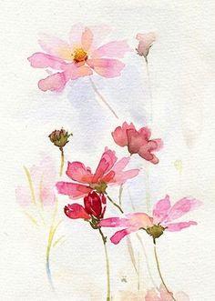 Pink w/c flowers.  --Trowel & Paintbrush.