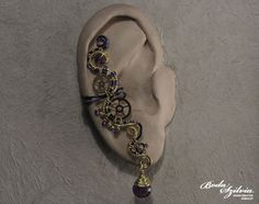 STEAMPUNK PRINCESS  OOAK brass and purple ear cuff by bodaszilvia, $22.50