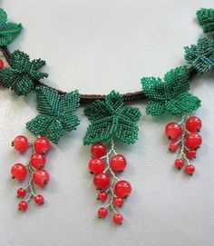 Beaded necklace berries of red currant by Elinawonderland on Etsy