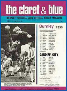 Burnley 3 Cardiff City 0 in October 1972 at Turf Moor. The programme cover #Div2