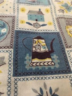 Vintage Printed Cotton Mid Century Kitchen Towel Dutch Blue Kettle and Chickens