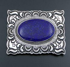 Darryl Becenti (Navajo) - Large Lapis & Sterling Silver Stamped & Repoussé Rectangular Belt Buckle #41716 $720.00
