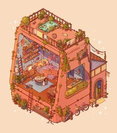 A place for the amazingly intricate Where's Waldo-style illustrations you can stare at for hours, and still not pick up on all of the tiny details. Art Kawaii, Arte Do Kawaii, Kawaii Wallpaper, Cartoon Wallpaper, Kawaii Drawings, Cute Drawings, Art Isométrique, Pixel Art, Arte Copic