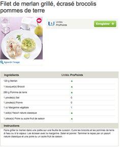 menu WW Filet de merlan grillé, écrasé brocolis pommes de terre