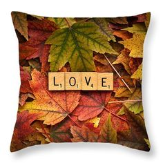 "Love-autumn Throw Pillow by  Onyonet  Photo Studios. This photo is a Feature in the Fine Art America group ""Greeting Cards for All Occasions""."
