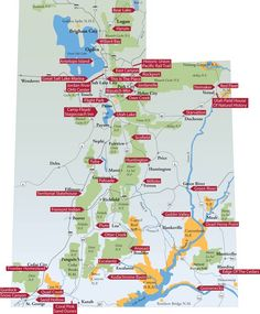 Utah State Parks map. Utah just ROCKS for outdoor beauty!! One of my absolute fave camping states!
