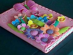 - looks like this book cover has been decorated with foam flowers - what a great idea!Eva - looks like this book cover has been decorated with foam flowers - what a great idea! Foam Crafts, Diy And Crafts, Crafts For Kids, Arts And Crafts, Paper Crafts, Merian, Decorate Notebook, Book Binding, Paper Flowers