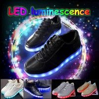 Wish | Colorful Light Shoes Shoes LED Fluorescent Luminous Shoe Lovers Shoes Korean Tide Mvfpmhxbbb USB Charging Light Shoes