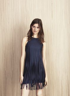 Short fringed-tiered dress - Collection | Adolfo Dominguez shop online
