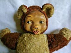 """12"""" Vintage 1950s RUSHTON Rubber Face TEDDY BEAR, Plush Brown Stuffed Animal  #Rushton Sort of looks like my childhood Teddy"""