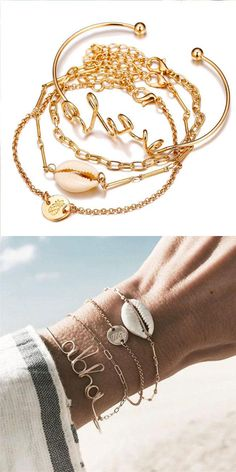 Fashion New Pineapple Shell Chain Four Piece Open Women Bracelet #shell #bracelet