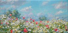 British Artist Mark PRESTON-Poppies and Blue Sky, Ednaston