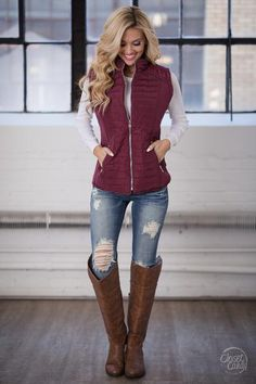 Your Shopping Cart Cozy Up Puffer Vest - Wine - Large Vest Outfits For Women, Winter Fashion Outfits, Casual Fall Outfits, Fall Winter Outfits, New Outfits, Autumn Winter Fashion, Cute Outfits, Clothes For Women, Fashion Moda